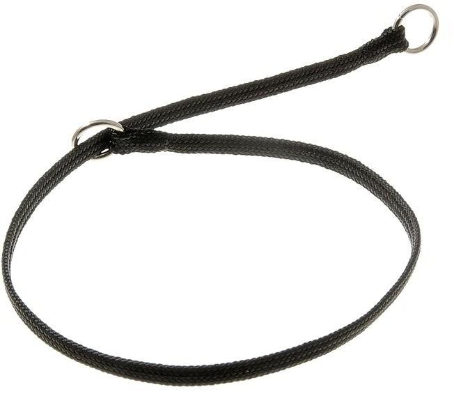 Ошейник-удавка с двумя кольцами (лента-чулок), черный, 5 мм x 40 см