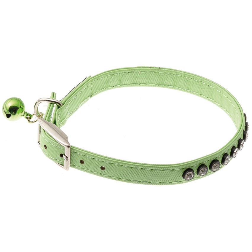 Ошейник для собак, со стразами и бубенцом, 10 мм (23-27 см), зелёный
