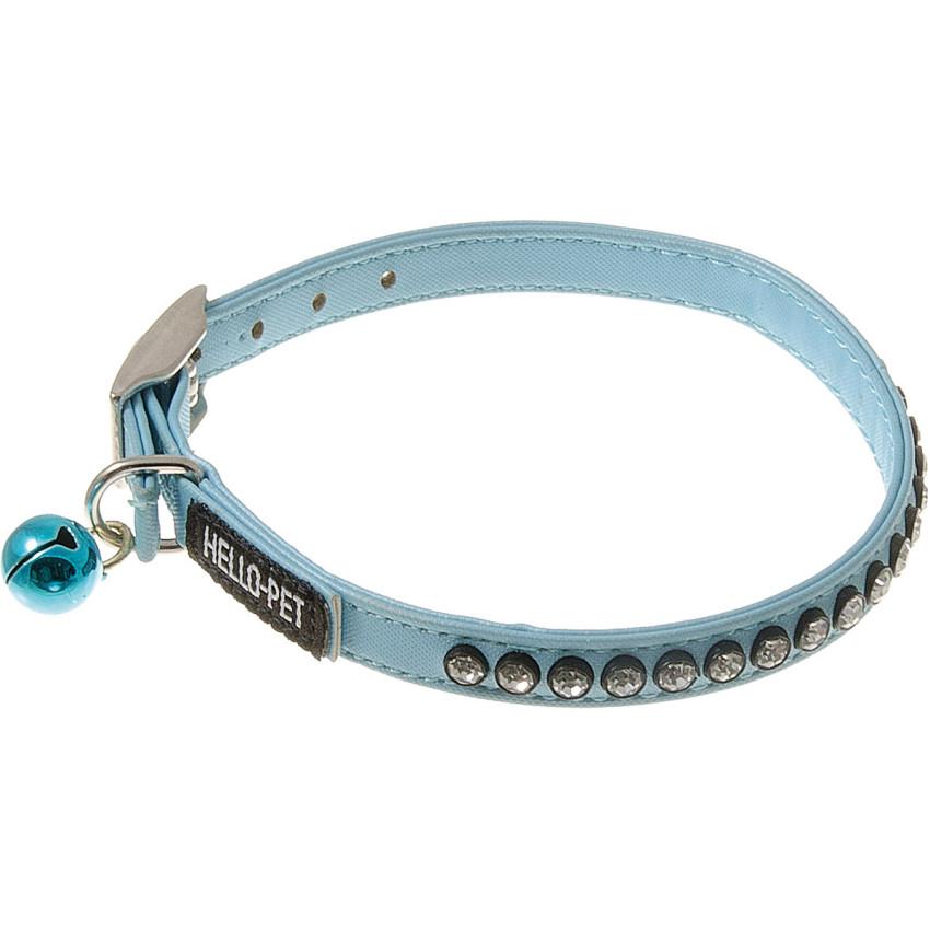 Ошейник для собак, со стразами и бубенцом, 10 мм (23-27 см), голубой