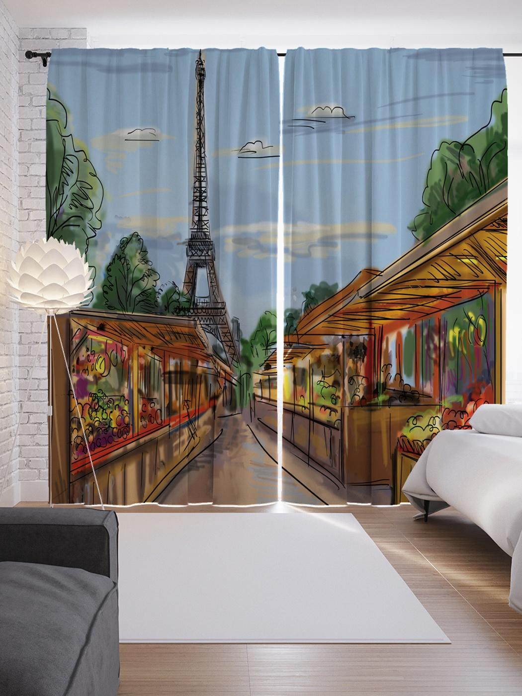 Шторы с рисунком города париж