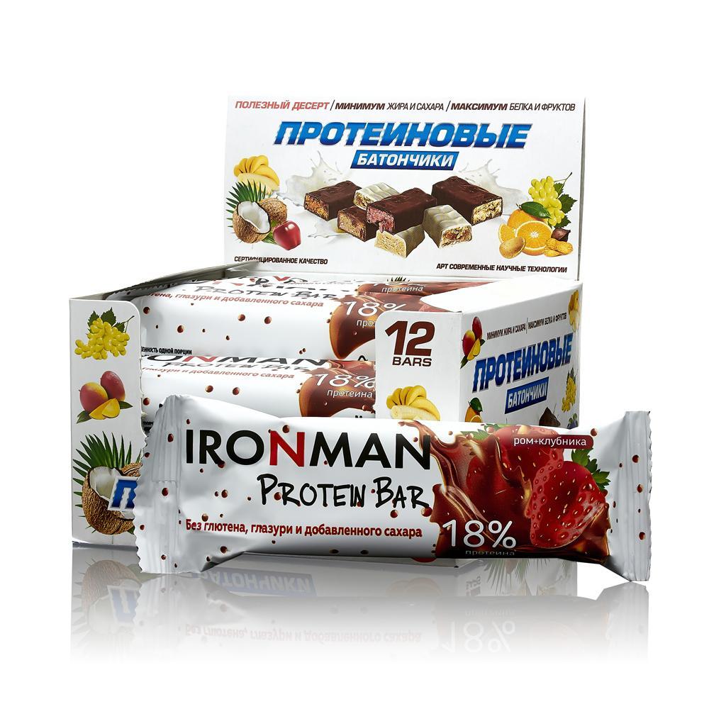 Батончик Ironman Protein Bar 12 50 г, 12 шт., ром/клубника фото
