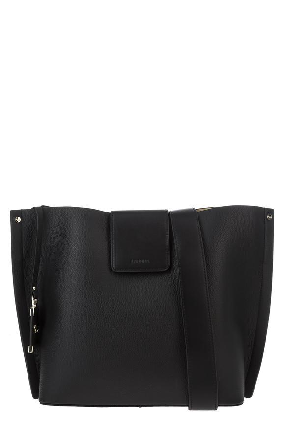 Черная кожаная сумка со съемным отделением, б/р
