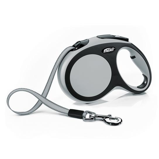 Поводок-рулетка Flexi New Comfort L до 50 кг, лента 8 м, черный, серый
