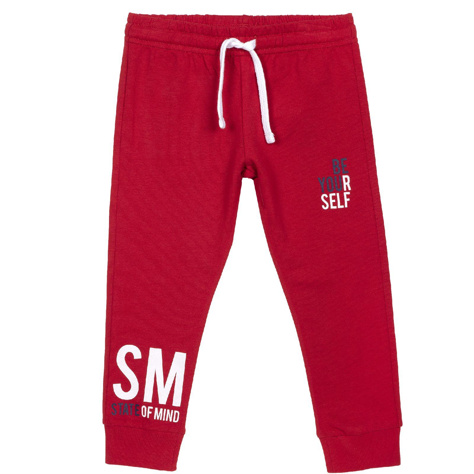 Купить 9008108, Брюки для мальчиков Chicco со шнурком, цвет красный, размер 104
