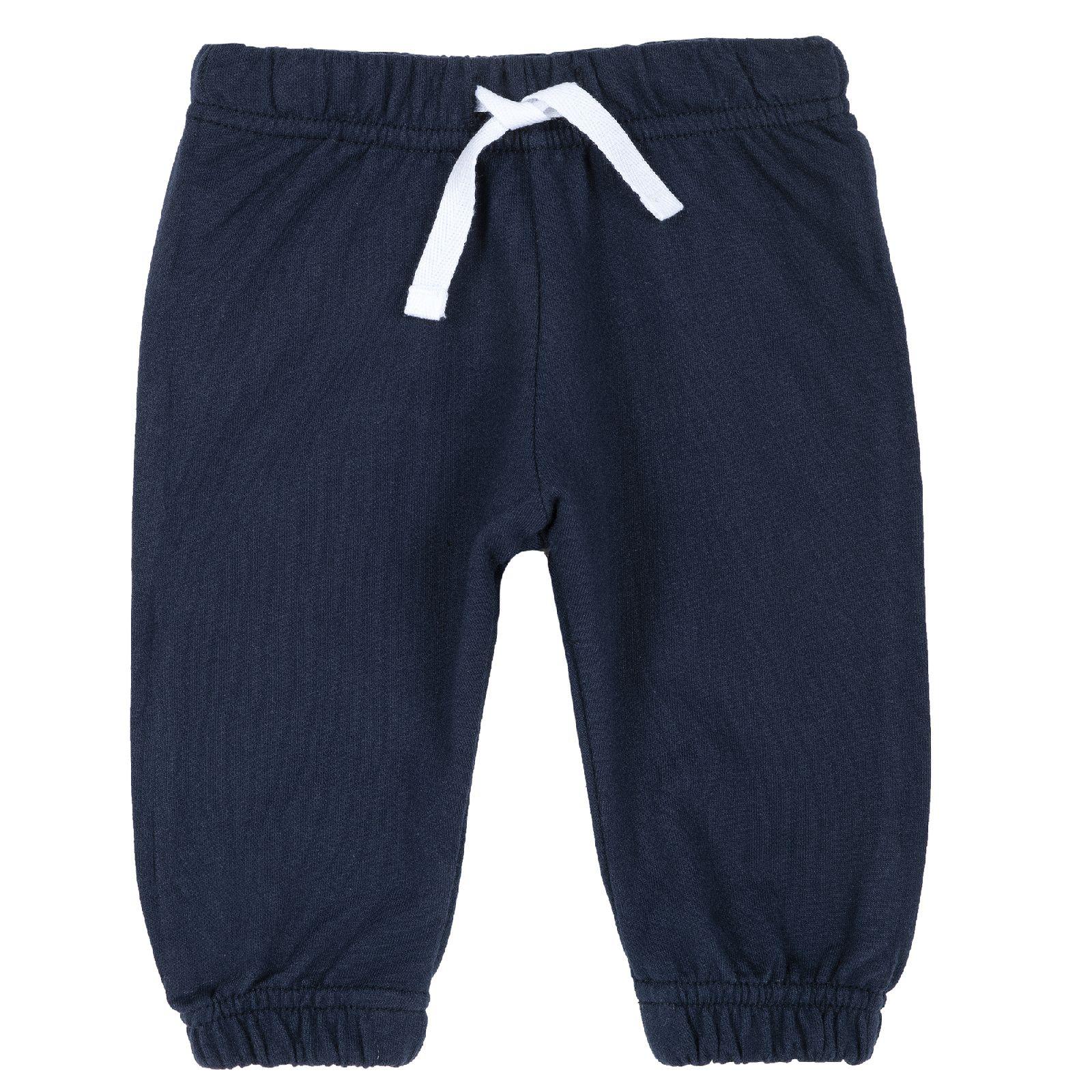 Купить 9008132, Брюки для мальчиков Chicco с белым шнурком, цвет темно-синий, размер 74, Детские брюки и шорты