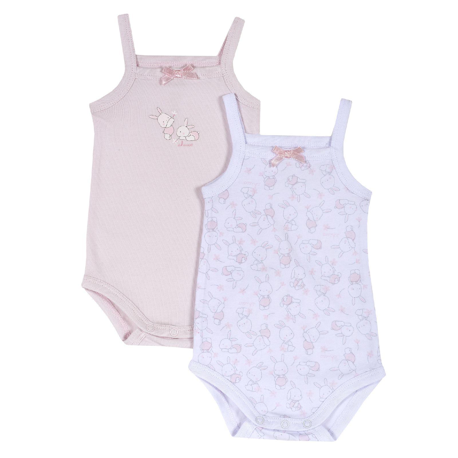 Купить 9011433, Боди для девочек 2 шт. Chicco Зайчата, цвет розовый, размер 68, Боди для новорожденных