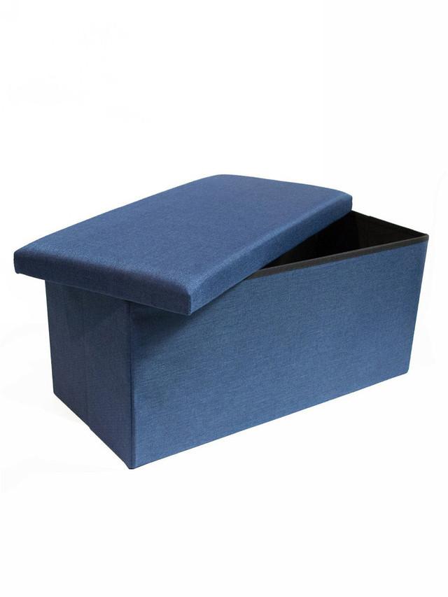 Стильное сиденье с ящиком для хранения из текстиля синий