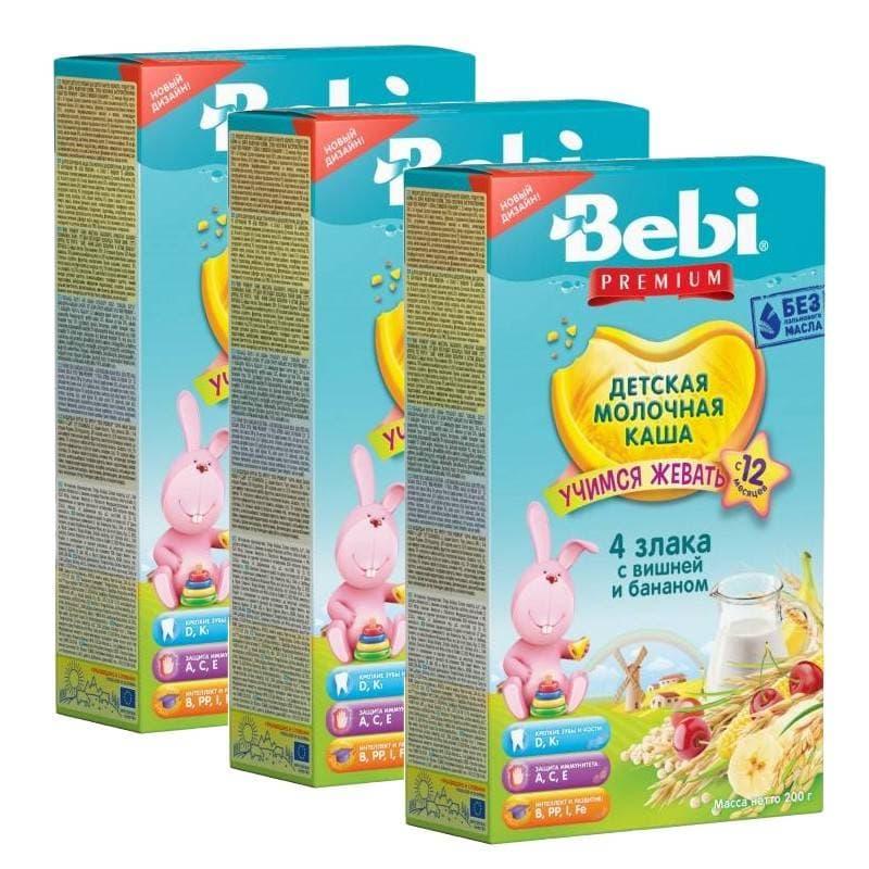 Купить Каша молочная Bebi 4 злака с вишней и бананом с 12 мес. 200 г, 3 шт., Детские каши