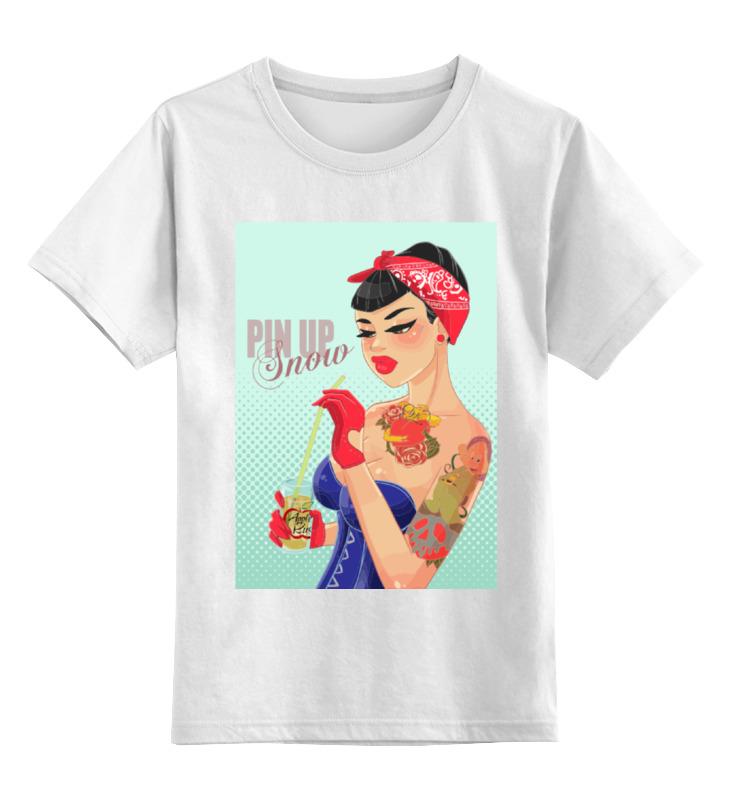 Детская футболка Printio Pin up - snow цв.белый р.140 0000000780293 по цене 790