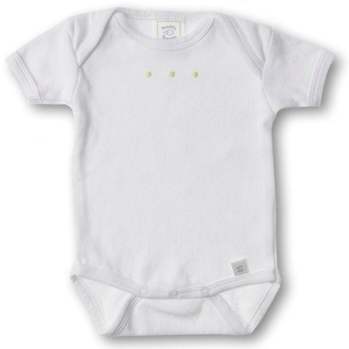 Купить SD-200KW, Боди с коротким рукавом SwaddleDesigns White w/KW Dots, размер 62, Боди для новорожденных