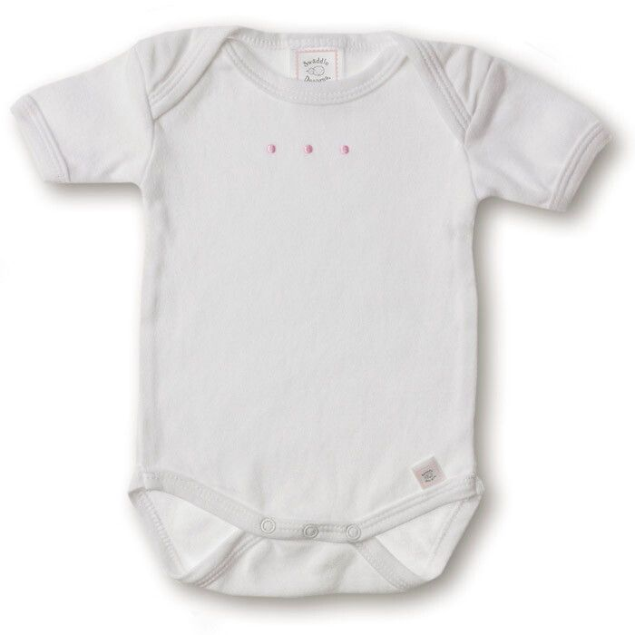 Купить SD-200PP, Боди с коротким рукавом SwaddleDesigns White w/PP Dots, размер 68, Боди для новорожденных