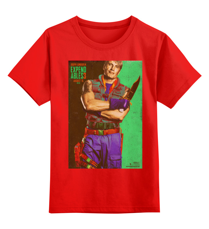 Купить 0000000768628, Детская футболка Printio Expendables iii lundgren цв.красный р.140,