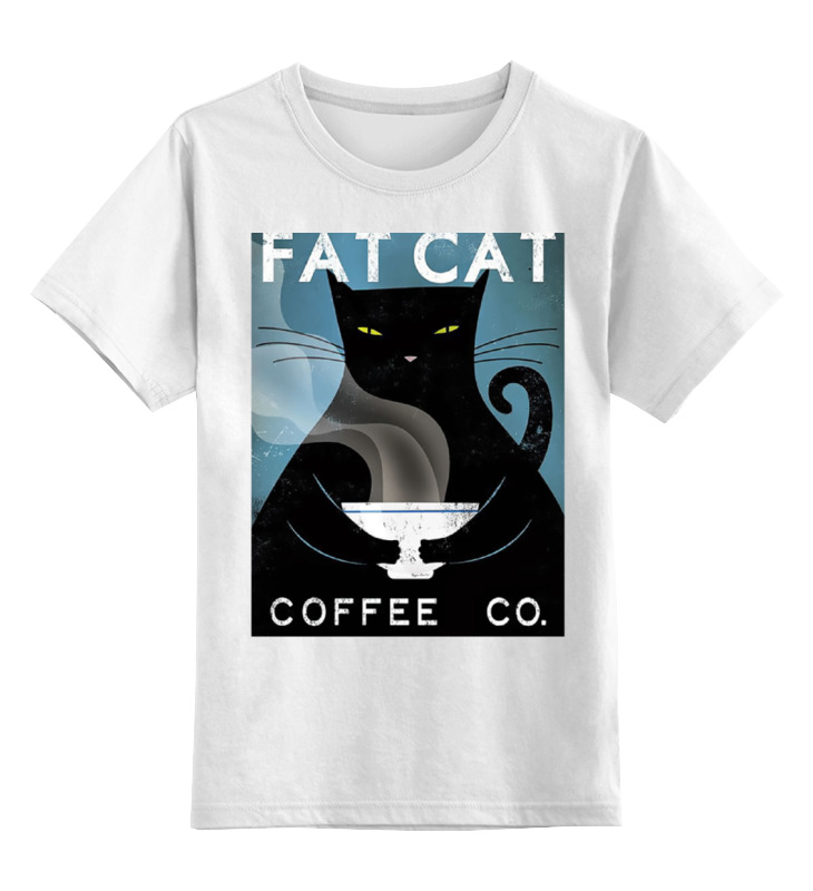 Купить 0000000758198, Детская футболка Printio Fat cat цв.белый р.152,