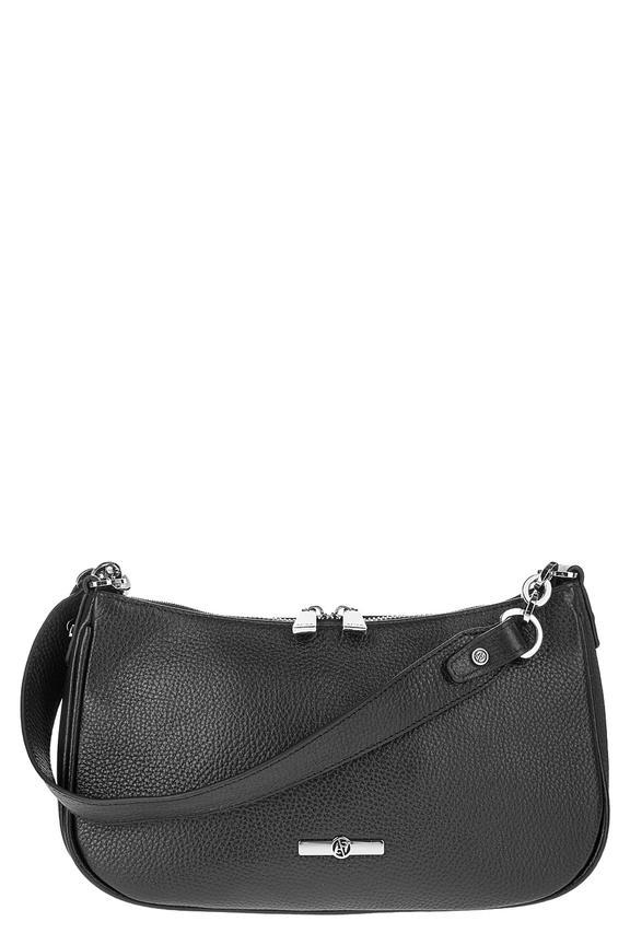 Черная кожаная сумка со съемным плечевым ремнем, б/р