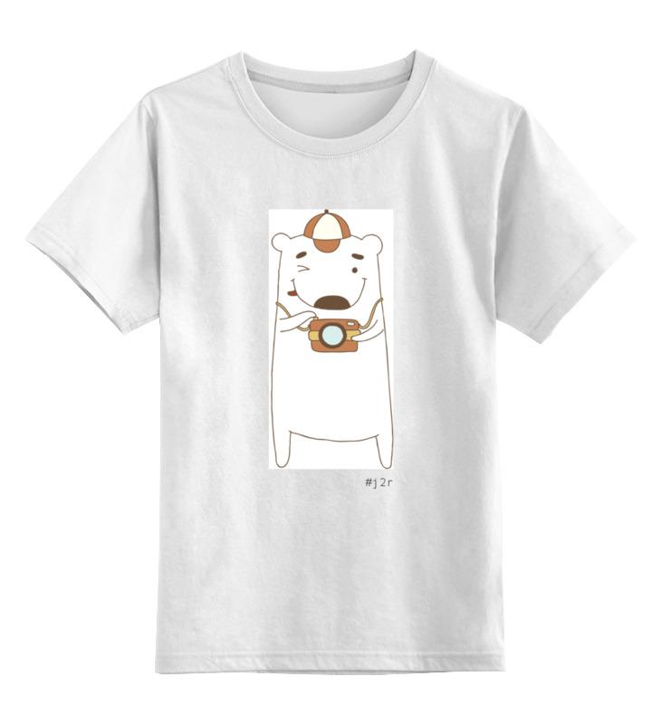 Детская футболка Printio Мишка бо фотограф цв.белый р.152 0000000753808 по цене 790