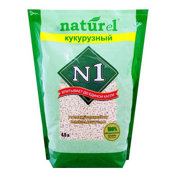 Комкующийся наполнитель для кошек №1 Naturel кукурузный, 3 кг, 4.5 л фото