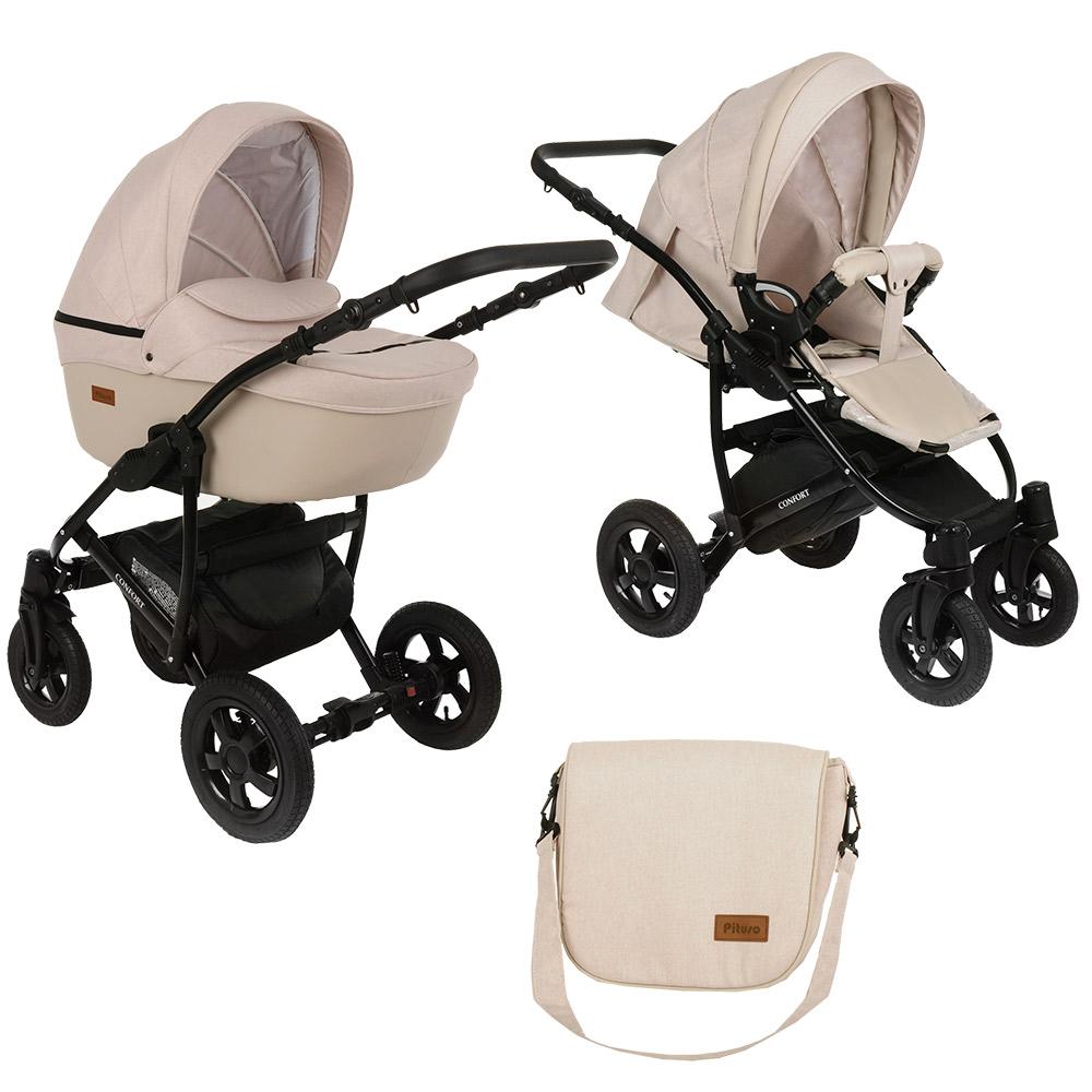 Купить Детская коляска 2 в 1 Pituso Confort светло-бежевый + кожа светло-бежевая, рама черная,