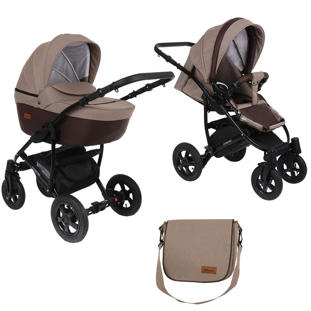 Купить Детская коляска 2 в 1 Pituso Confort капучино + кожа мокко, рама черная,