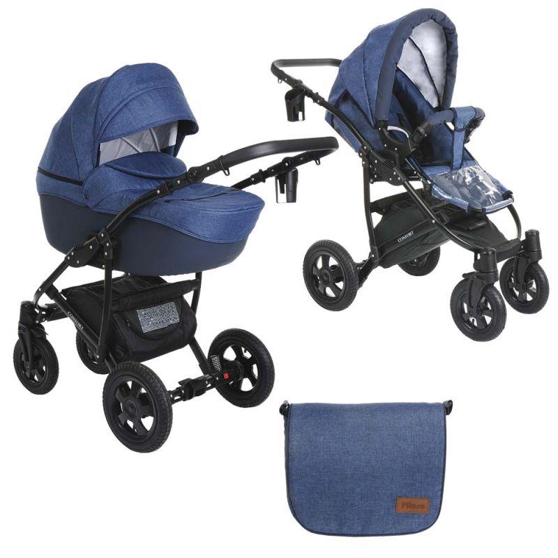 Купить Детская коляска 2 в 1 Pituso Confort джинс + кожа темно-синяя, рама черная,