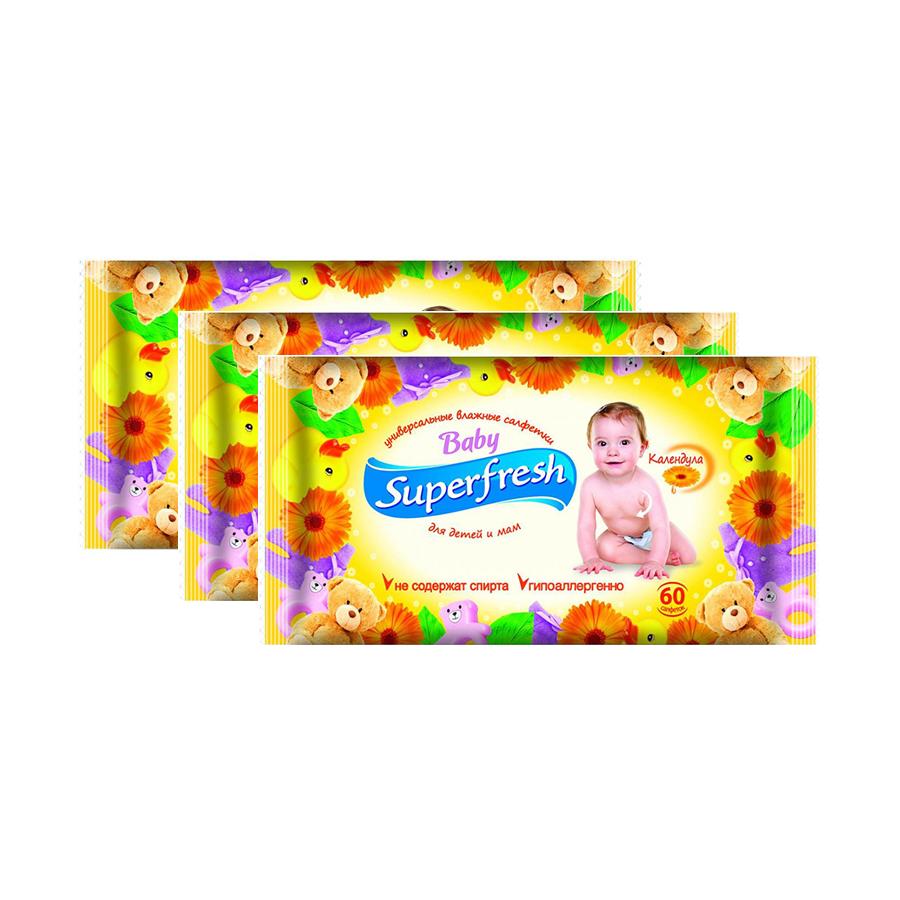 Купить Влажные салфетки Superfresh для детей и мам 60 шт (3 уп.в наборе), Smile