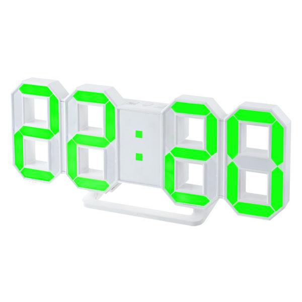 Часы будильник Perfeo LED LUMINOUS, белый корпус,