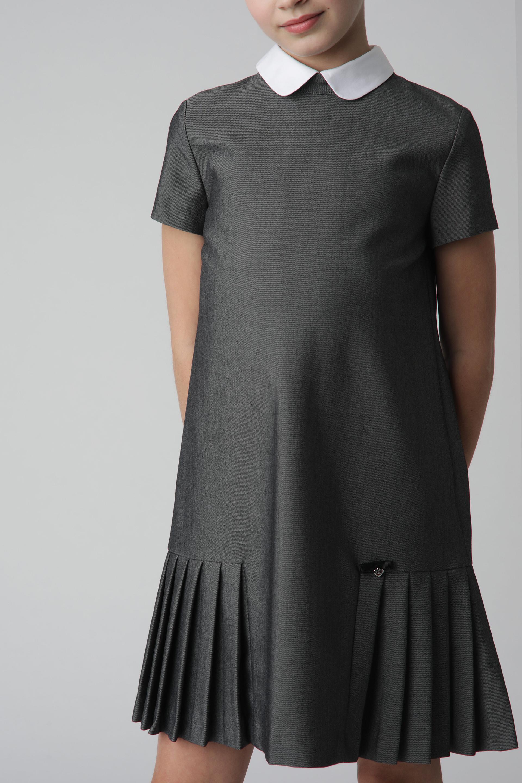 Купить Серое платье с коротким рукавом Gulliver 220GSGC2503, размер 146,