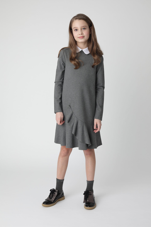 Купить Серое платье из джерси Gulliver 220GSGC5003, размер 146,