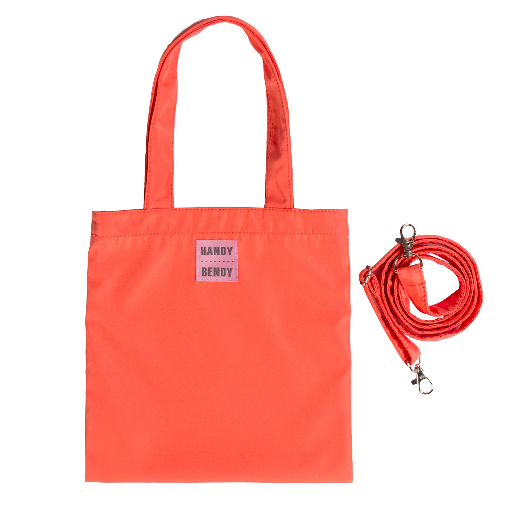 Маленькая сумка Handy Bendy со съемной ручкой и медальоном, яркий коралл