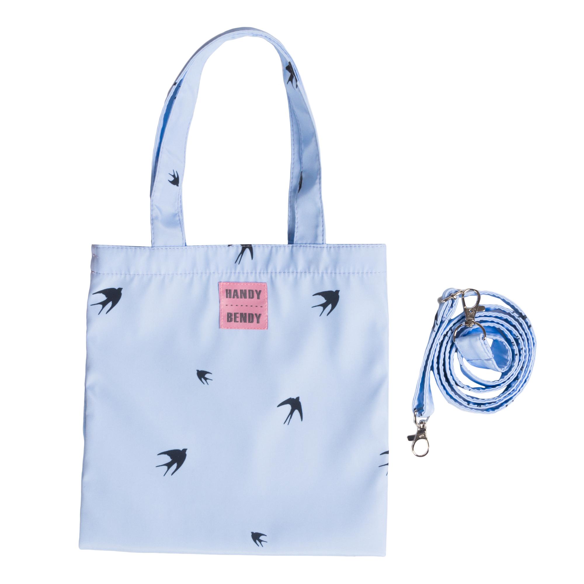 Маленькая сумка Handy Bendy со съемной ручкой и медальоном, ласточки на голубом