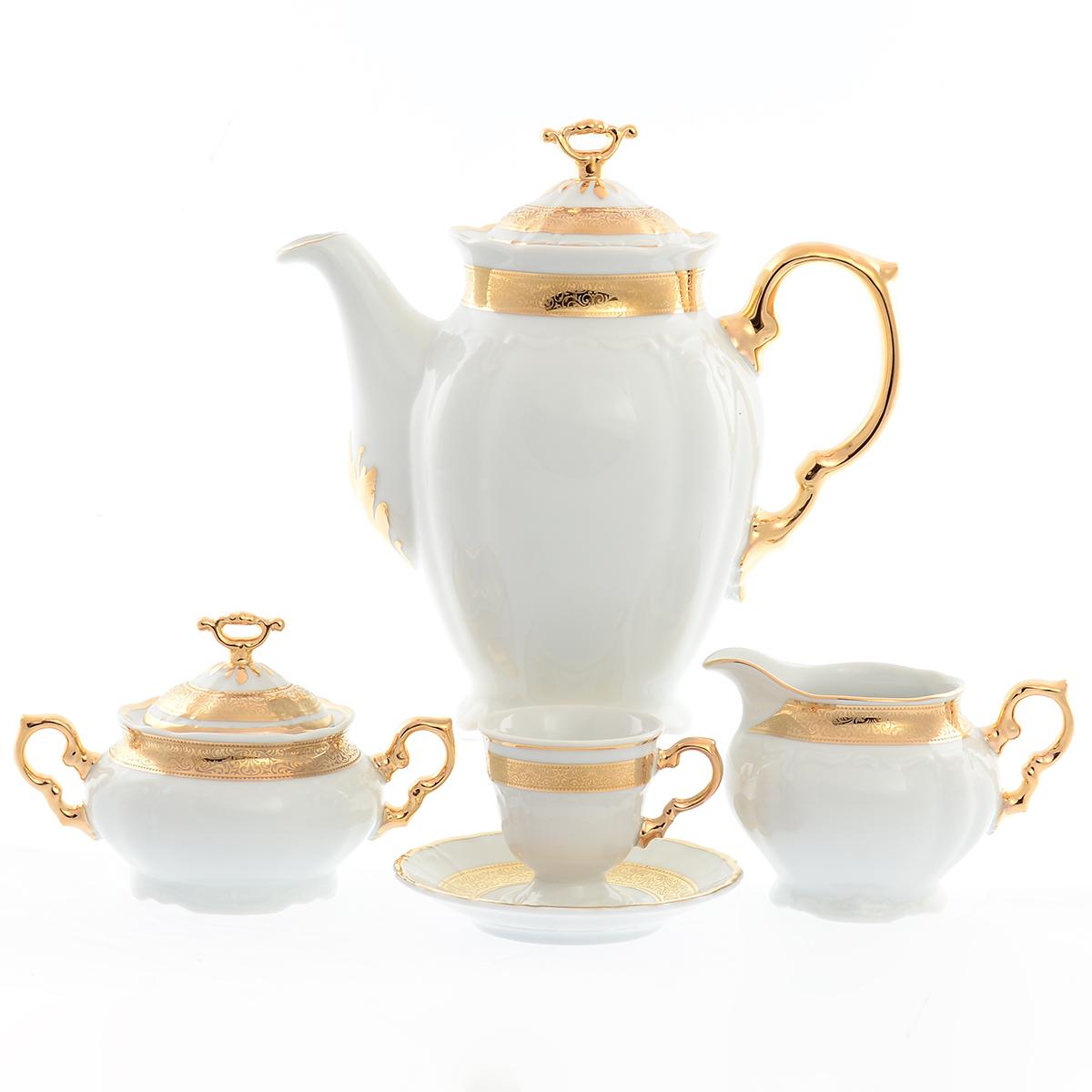 Кофейный сервиз Thun Мария Луиза золотая лента 6 персон 17 предметов