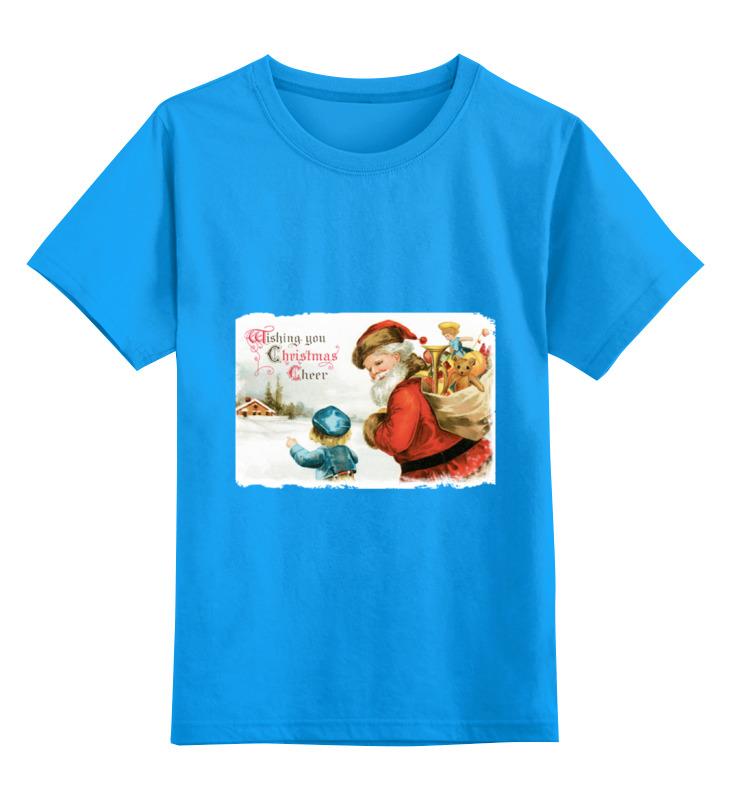 Купить 0000000751704, Детская футболка Printio Дед мороз цв.голубой р.164,