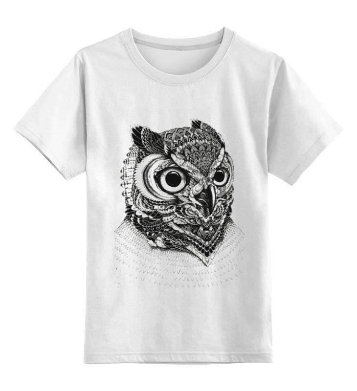 Купить 0000000751035, Детская футболка Printio Монохромная сова цв.белый р.164,
