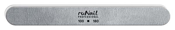 Пилка ruNail для искусственных ногтей закругленная, 100/180