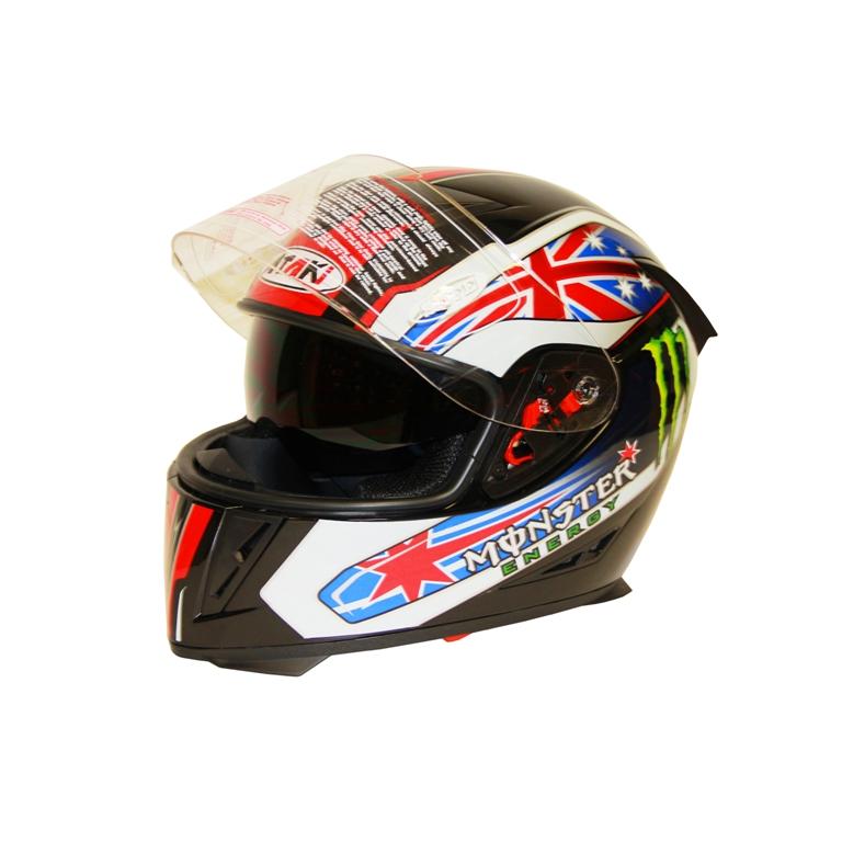 Шлем (интеграл) Ataki FF311 Monster чёрный глянцевый,