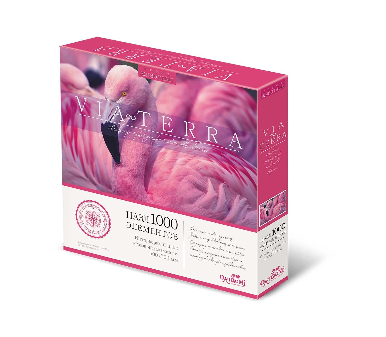 Купить Пазл Origami Виа Терра Розовый фламинго 1000 деталей,