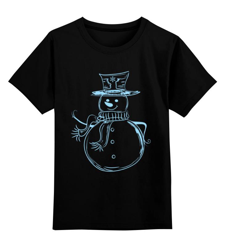 Купить 0000000751463, Детская футболка Printio Снеговик новый год цв.черный р.116,