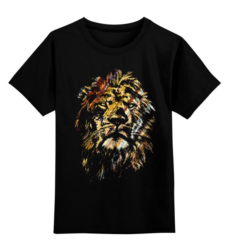 Купить 0000000765688, Детская футболка Printio Царь зверей цв.черный р.128,
