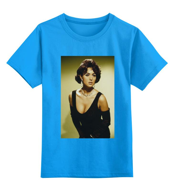 Купить 0000000765386, Детская футболка Printio Monica bellucci цв.голубой р.128,