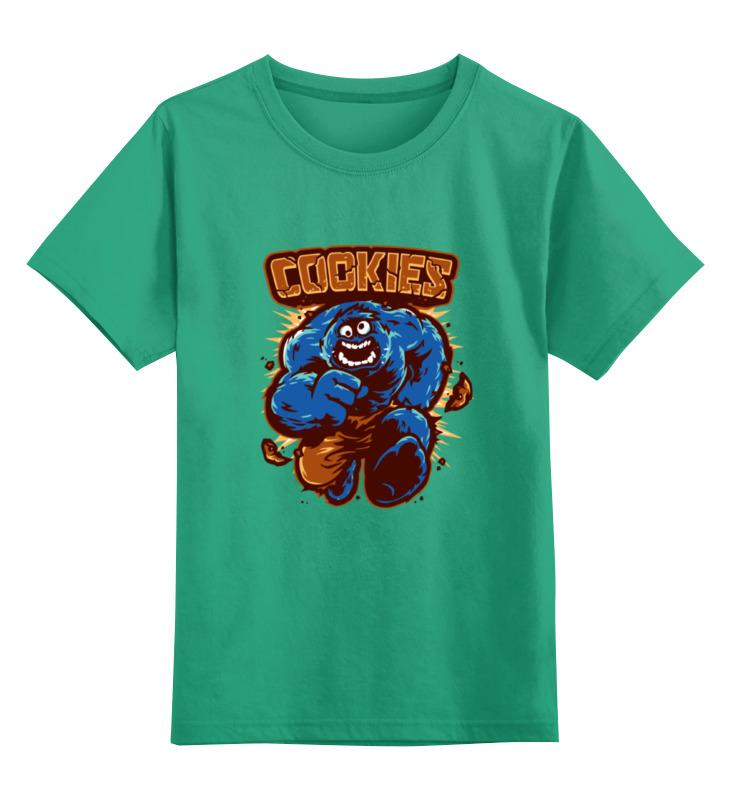 Купить 0000000763209, Детская футболка Printio Печеньки цв.зеленый р.128,