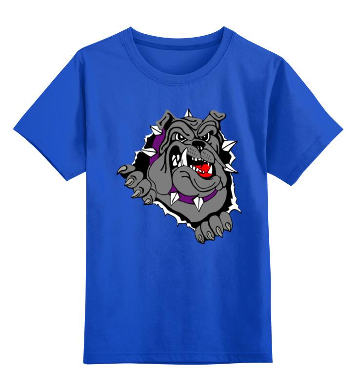 Купить 0000000759705, Детская футболка Printio Bulldog цв.синий р.128,