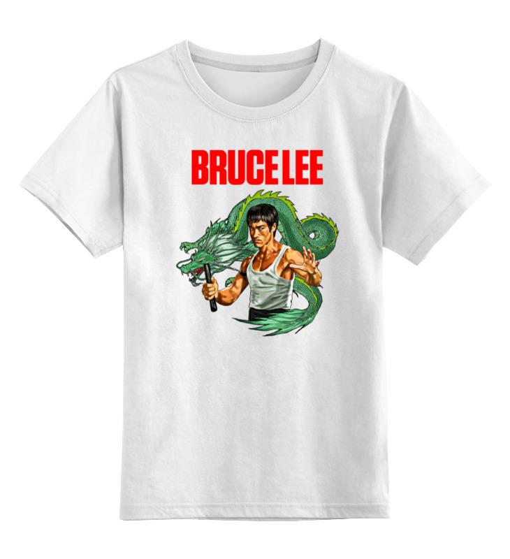 Купить 0000000759510, Детская футболка Printio Bruce lee цв.белый р.128,