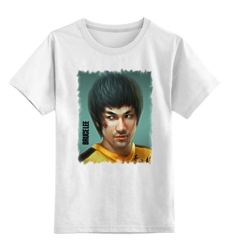 Купить 0000000758457, Детская футболка Printio Bruce lee цв.белый р.128,