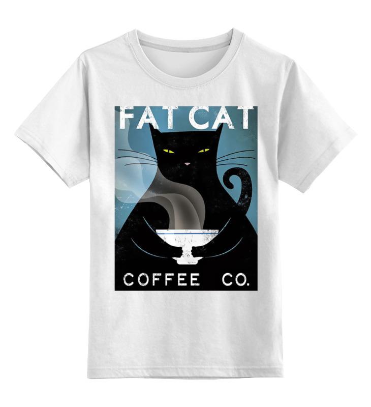 Купить 0000000758198, Детская футболка Printio Fat cat цв.белый р.128,
