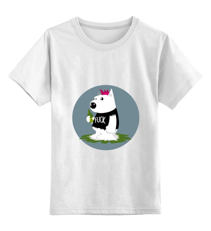Купить 0000000754239, Детская футболка Printio Bad dog цв.белый р.128,