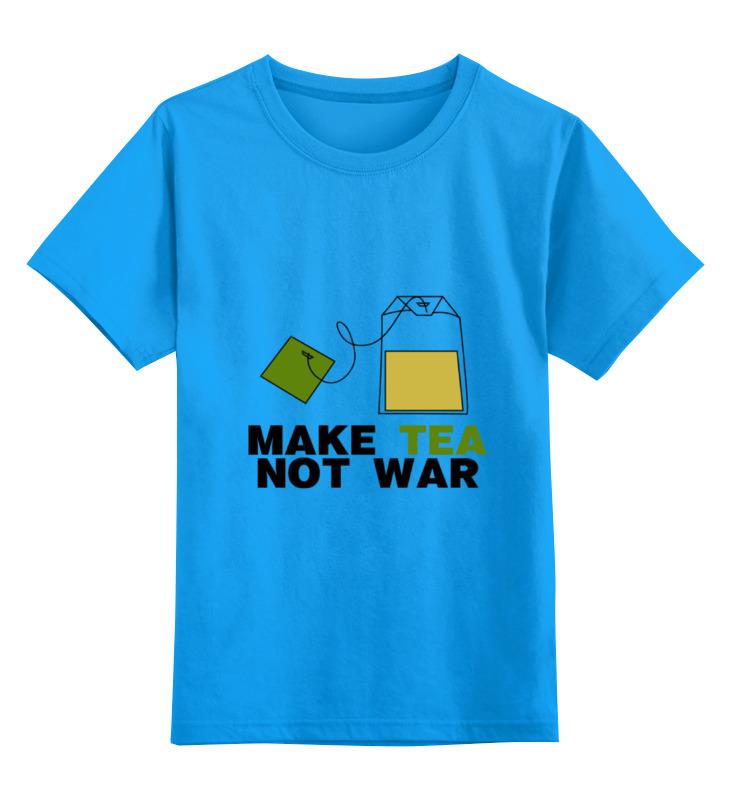 Купить 0000000753526, Детская футболка Printio Make tea not war цв.голубой р.128,