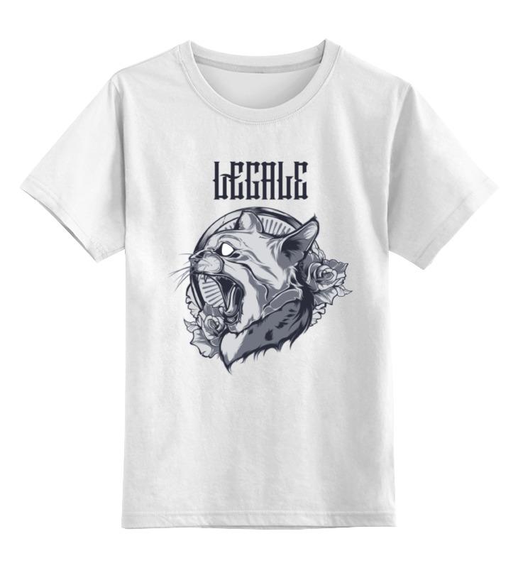 Купить 0000000751362, Детская футболка Printio The cat цв.белый р.128,