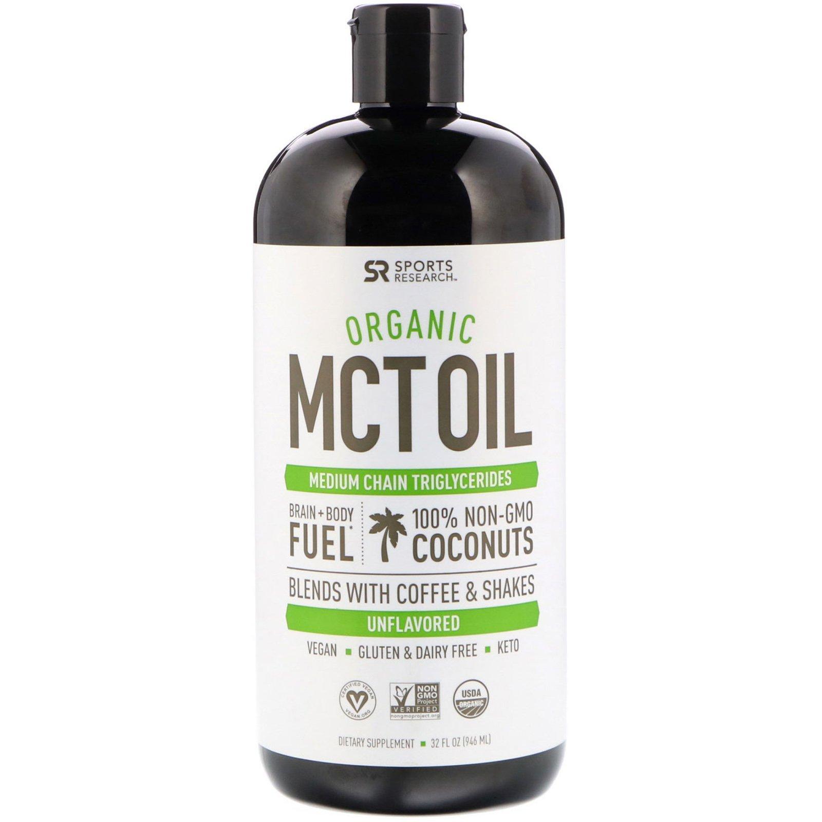 Купить Масло MCT Organic Sports Research с жирными кислотами 946 мл