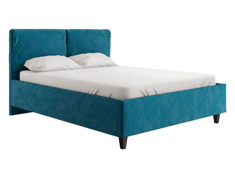 Двуспальная кровать Лаура Синий, микровелюр, 140х200 см
