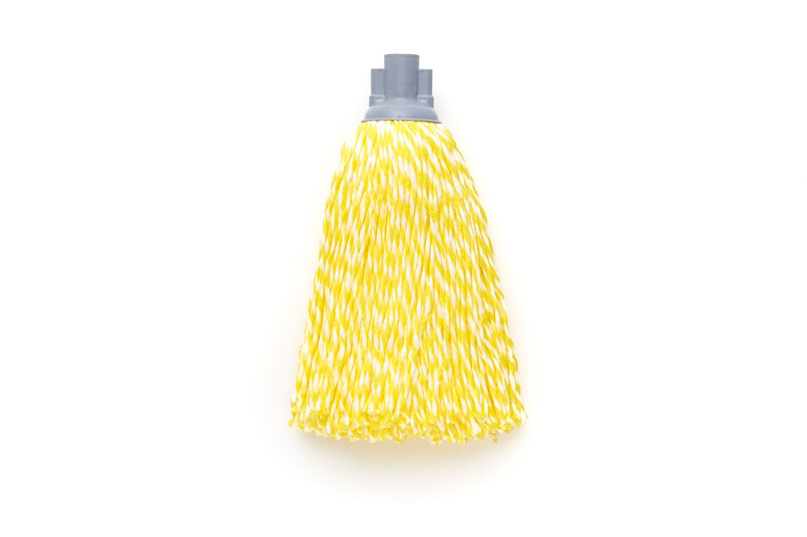 Насадка для швабры с резьбой верёвочная микрофибра жёлтый/белый 150г по цене 358
