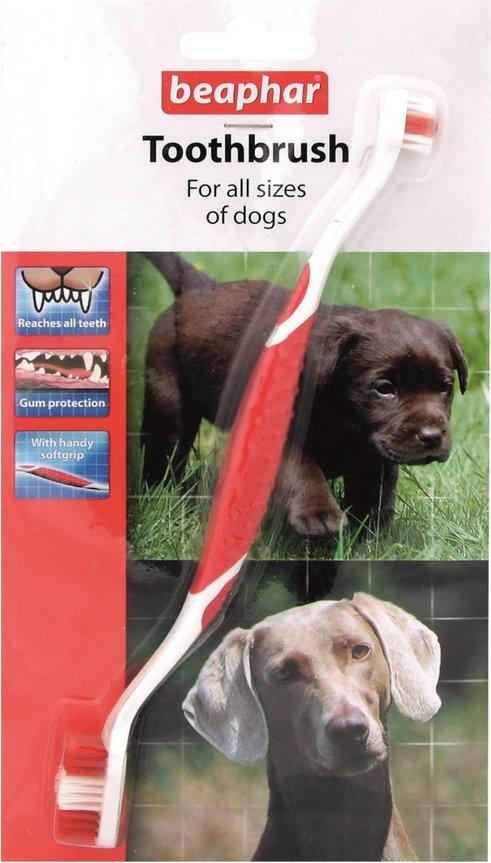 Зубная щетка для собак Beaphar, двухсторонняя, красный,